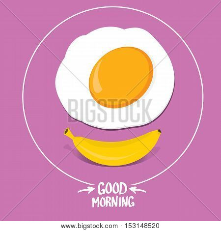 vector good morning funny concept vector background. Good morning smile made from banana and fried egg