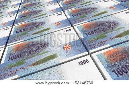 Comorian franc bills stacks background. 3D illustration.