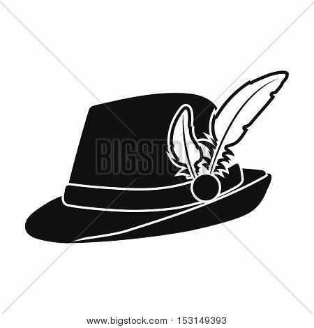 Tyrolean hat icon in black style isolated on white background. Oktoberfest symbol vector illustration.