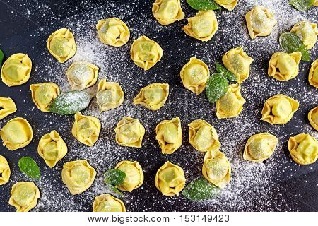 Traditional Italian homemade spinach and ricotta tortellini.