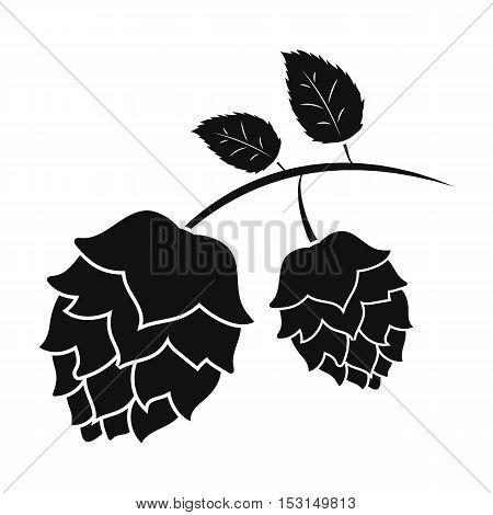 Hops icon in black style isolated on white background. Oktoberfest symbol vector illustration.