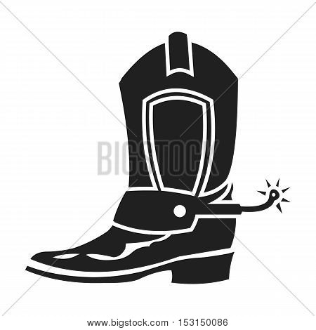 Cowboy boot icon in black style isolated on white background. Wlid west symbol vector illustration.