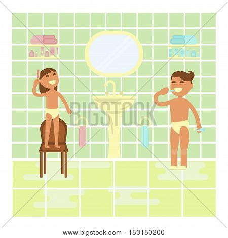 Children on the bathroom interior background. Flat design, Boy brushing teeth and girl brushing her hair. Cartoon characters, illustration vector eps10