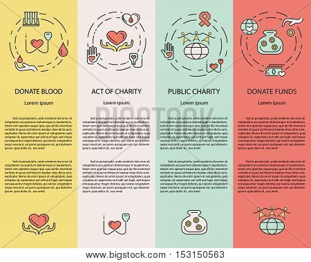 Charity and donation, volunteers needed concepts set for web banners, printed materials, infographics, websites. Creative icons in thin line flat design. Vector illustration eps10