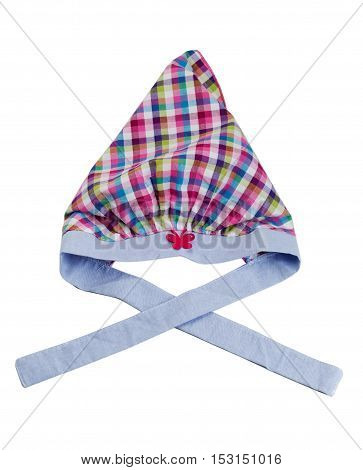 Children plaid hat. Isolate on white. accessory