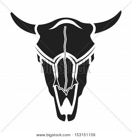 Bull skull icon in black style isolated on white background. Wlid west symbol vector illustration.