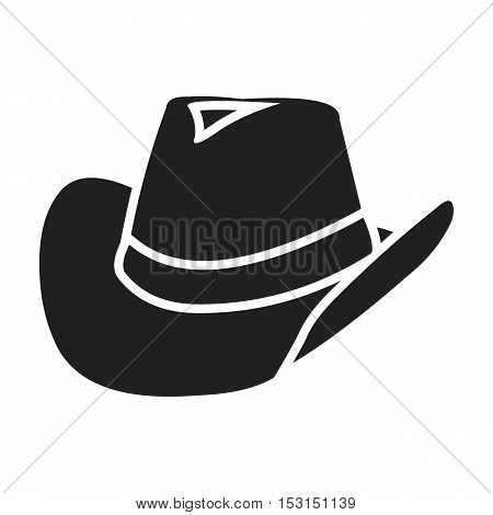 Cowboy hat icon in black style isolated on white background. Wlid west symbol vector illustration.