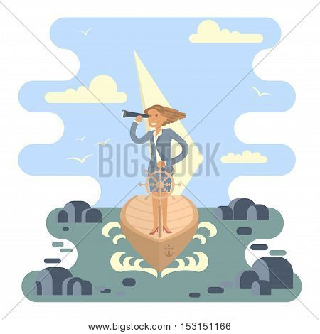 Business Woman stand at the wheel for control the boat crossing the ocean in the middle of the stones. Vector illustration business success concept. Character design