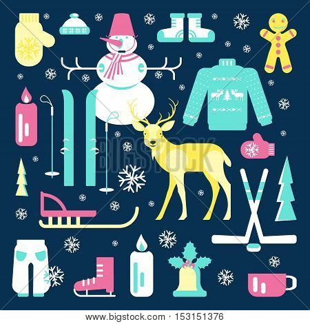 Set of unique winter icons illustrations. Clipart collection with snowman, Christmas bell, reindeer, skiing, luge, skating, snowflakes and other. Vector elements for banner design of seasonal sell.
