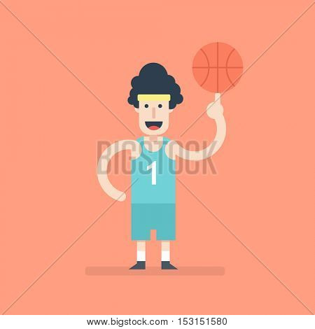 Flat character. Basketball player spinning the ball on his finger
