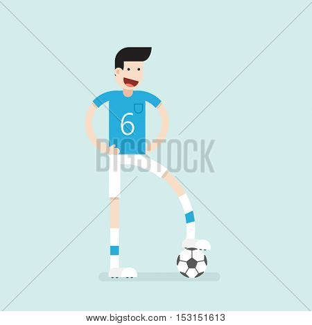 Flat character. Soccer player with ball