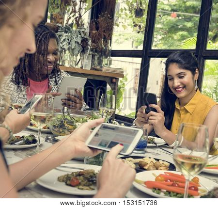 Women Browsing Devices Connection Concept