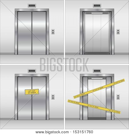 Open, closed and broken chrome metal building elevator doors. Realistic vector illustration. Hall Interior in Gray Colors.