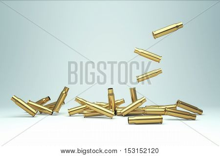 Pile of empty bullet, Bullet casings. 3D illustration