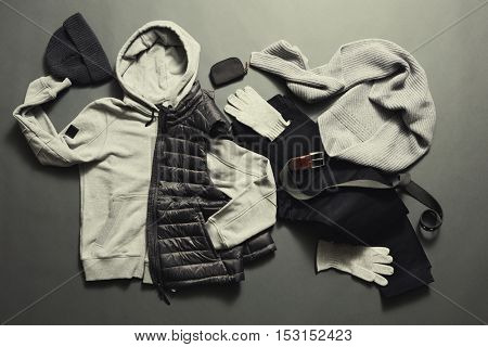 Fashionable men's warm clothes and accessories