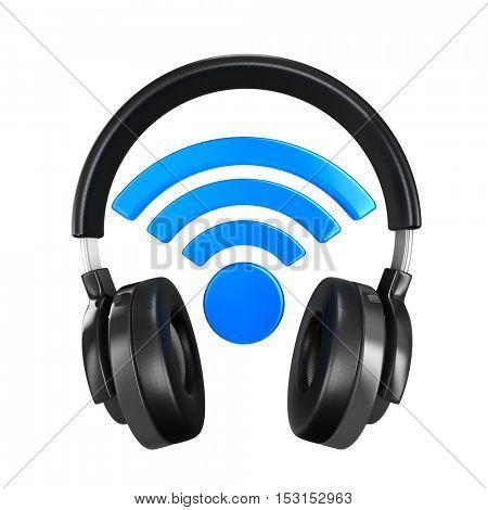 Headphone on white background. Isolated 3D image