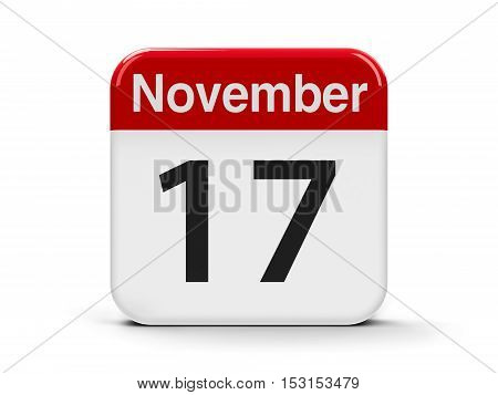 Calendar web button - The Seventeenth of November - International Students' Day and World Prematurity Day three-dimensional rendering 3D illustration