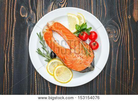Studio shot of crispy roasted salmon steak