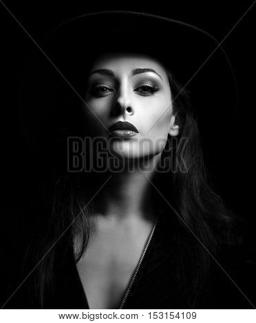 Glamour Sexy Makeup Woman Posing In Fashion Hat On Dark Background. Bright Make-up.  Halloween Witch