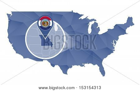 Missouri State Magnified On United States Map.