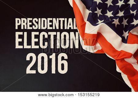 Presidential Election 2016 background with chalkboard and USA flag
