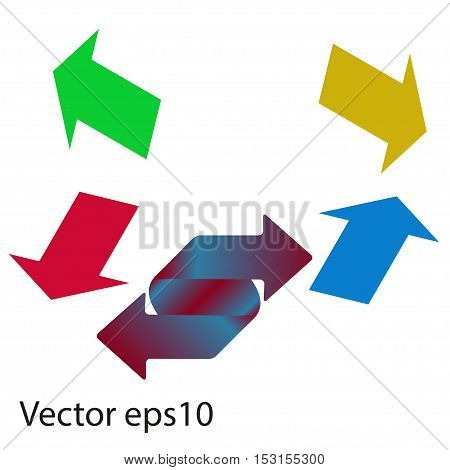 Colored arrows on a gray background. Vector stickers