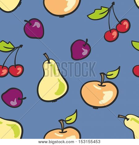 Seamless background fruit mix on blue