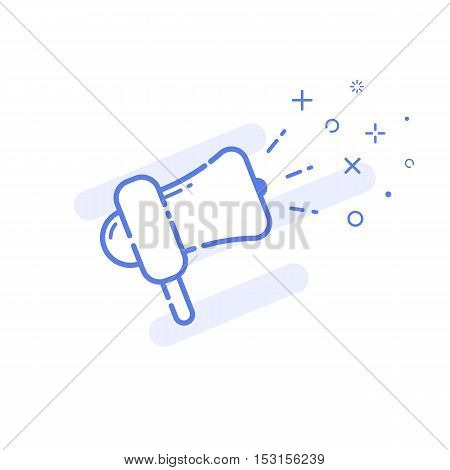 Vector illustration of icon shopping promotion concept in line style. Linear blue megaphone with cute smile. Design for internet, banner, web page and mobile app. Outline object e-commerce.