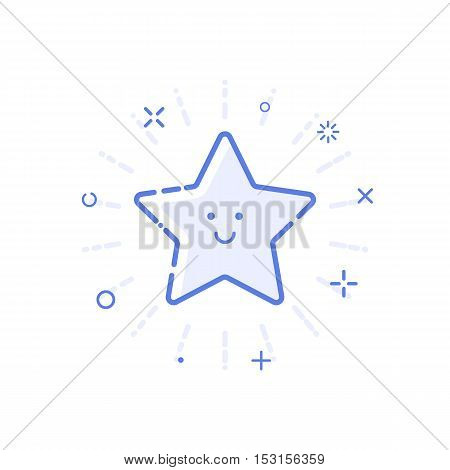 Vector illustration of icon shopping concept favorite wish in line style. Linear blue star with cute smile. Design for internet, banner, web page and mobile app. Outline object e-commerce.