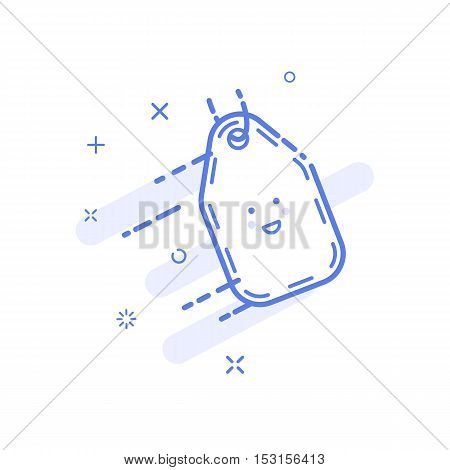 Vector illustration of icon shopping concept price tag in line style. Linear blue coupon with cute smile. Design for internet, banner, web page and mobile app. Outline object e-commerce.