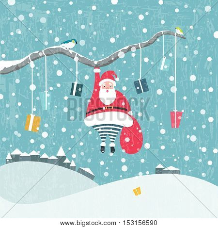 Christmas background. Santa Claus hanging on tree branch. Vector illustration