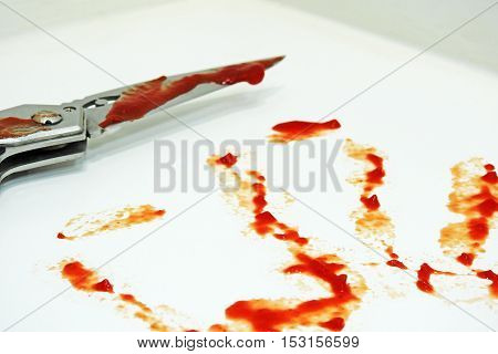 Metal Knife And Blood Imitation
