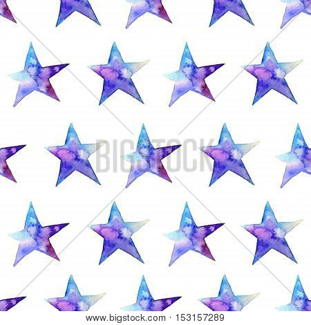Colorful watercolor star icon. Vector illustration on white background. Blue and violet. Isolated. Hand-drawn symbol