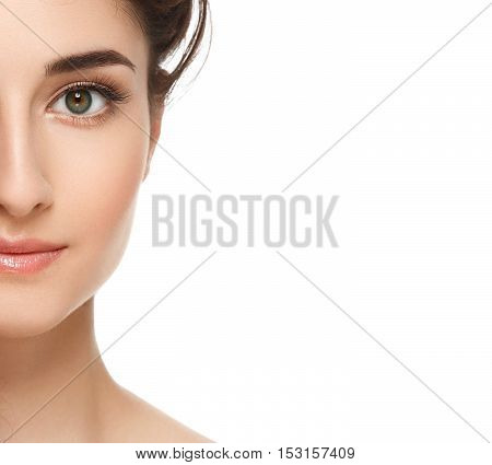 Beautiful Half-face Of Young Woman Model With Clean Fresh Perfect Healthy Skin. Portrait Isolated On