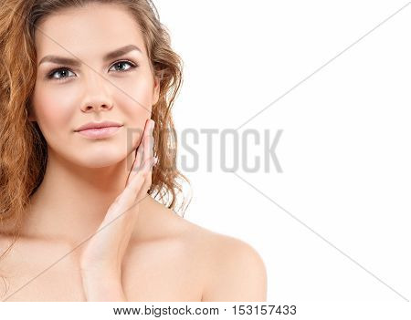 Beauty Woman Face Portrait. Beautiful Curly Hair Model Girl With Perfect Fresh Clean Skin. Blonde Fe