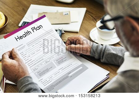 Health Plan Treatment Medical Document Form Concept
