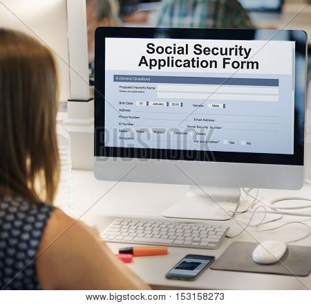Social Security Application Form Insurance Pension Concept
