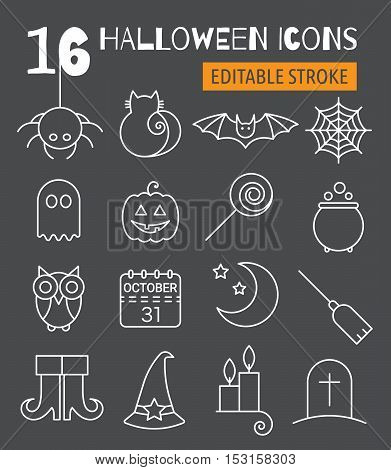 Halloween line icons set with editable stroke. Pictograms of spider, cat and bat, web, ghost, pumpkin, candy and potion, owl, calendar, moon and broom, boots, hat, candle and tomb. Vector illustration