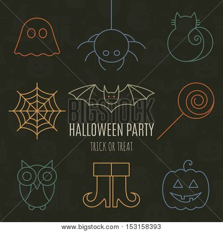 Halloween linear icons set with editable stroke on black background for holiday design. Line pictograms of spider, cat, bat, web, ghost, pumpkin, candy, owl, boots. Vector illustration.