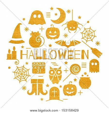 Halloween gold icons set in circle shape on white background. Golden design concept for festive banner, greeting and invitation card, flyer, tag, poster, postcard, advertisement. Vector illustration.