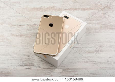 BURGAS, BULGARIA - OCTOBER 22, 2016: New Apple iPhone 7 Plus Gold on white background, back side, illustrative editorial.