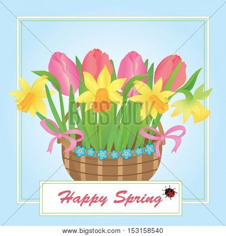 Vector illustration of a basket with spring flowers