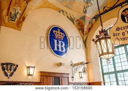 Munich, Germany - July 03, 2016: Interior of famous Hofbrauhaus pub in Munich. Hofbrauhaus is a biggest brewery and beer pub owned by the Bavarian state government.