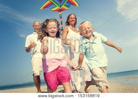 Kite Family Beach Playing Enjoyment Travel Concept
