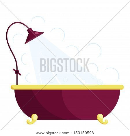 Vector illustration of a red bath with shower. Cartoon bath with shower on a white background. Isolated object. Image blue with gold bath stand