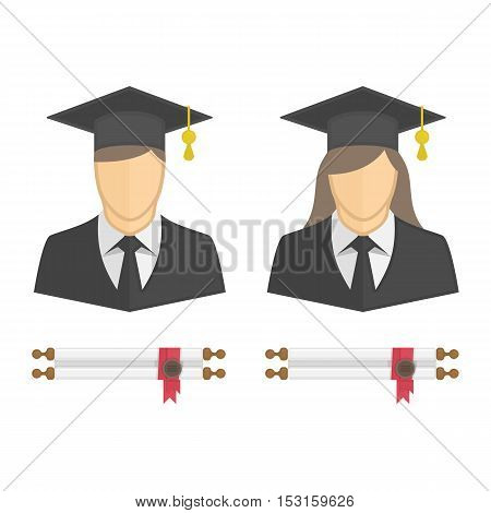 Graduates in gown and graduation cap icon. Illustration of young students woman and man character with diploma rolled scroll. Graduation, education concept.
