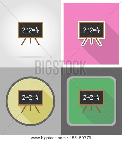 wooden school board flat icons vector illustration isolated on background