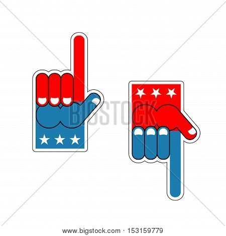 Foam Finger Usa Patriot. American Sports Symbol. Expression Of Emotions. Pattern Of Flag Of America