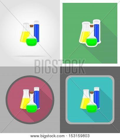 glass test tube with color liquid flat icons vector illustration isolated on background