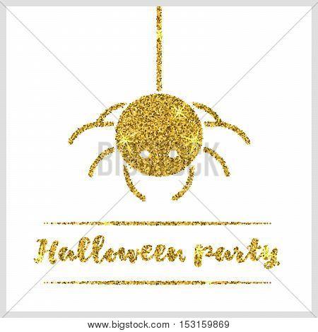 Halloween gold textured spider icon on white background. Vector illustration.